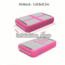 Free Shipping Pink Inflatable Gymnastic Inflatable Air Block,20cm Thickness Inflatable Gymnastic Air Board For Sale