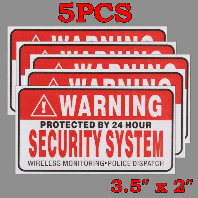 5pcs set warning protected by 24 hour security system stickers saftey alarm signs decal warning