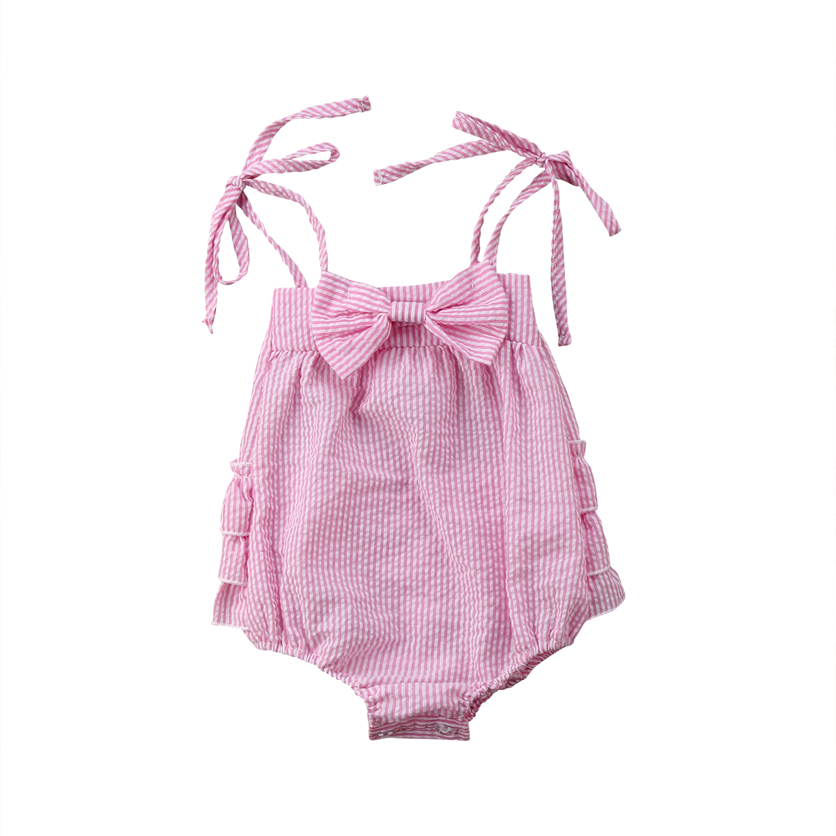 Newborn Toddler Infant Baby Girl   Romper   Off Shoulder Bow Jumpsuit Outfit Sunsuit Clothes Baby Clothing