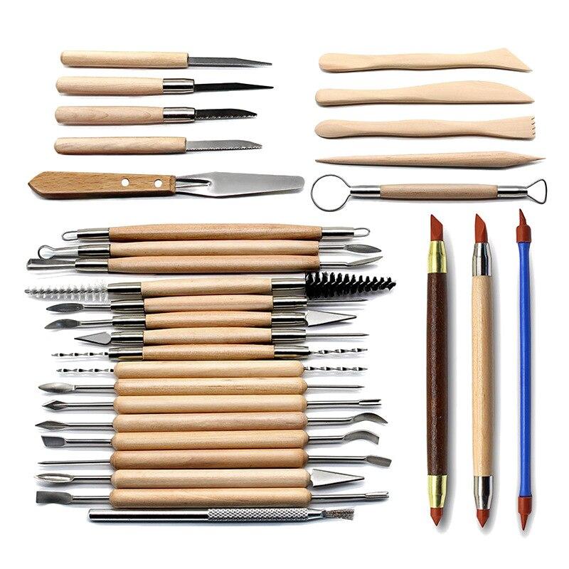 30 pièces/ensemble argile Sculpture outils poterie à la main multi-outils céramique poignée en plastique Sculpture sur bois outils à main Kit
