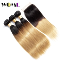 Wome Pre colored Raw Indian Hair 3 Bundles with Closure 1b 27 Ombre Blonde Straight Human Hair Weaves Bundles with Closure