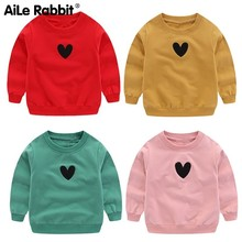 Spring And Autumn Sweater Solid Color Love Pattern Children Pullover Baby Clothes Childrens Garment