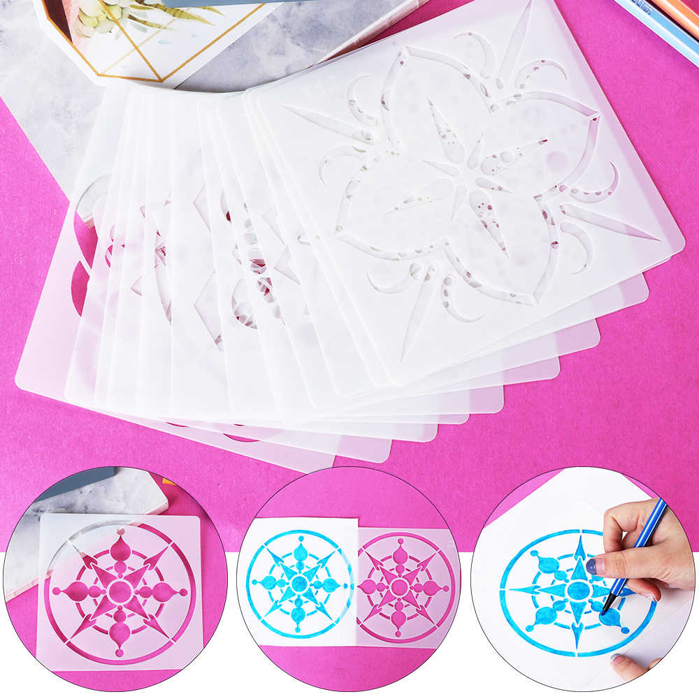 1PC DIY Craft Mandala Auxiliary Template Stencil Scrapbooking Stamp Album Decor Embossing Paper Card Template For Walls Painting