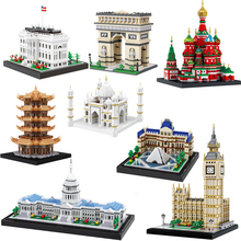 Architecture Building Blocks big ben white house triumphal arch Taj Mahal church model finger bricks ducation Toys for children