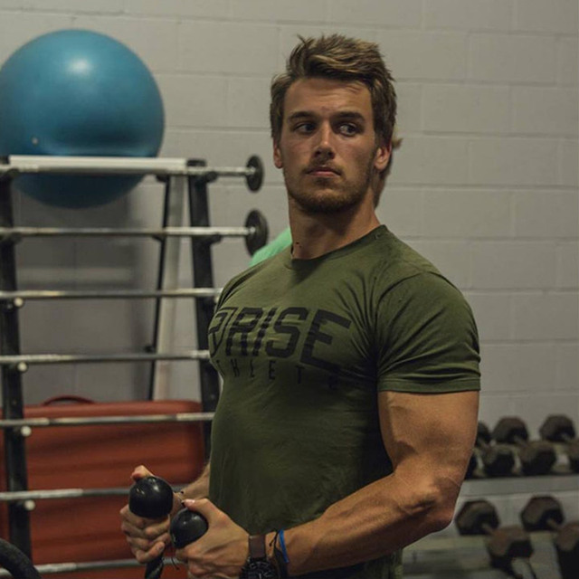 b0b5c2fc9e Men gym training t shirt Fitness Bodybuilding short sleeve cotton Army  green shirts workout clothes Crossfit
