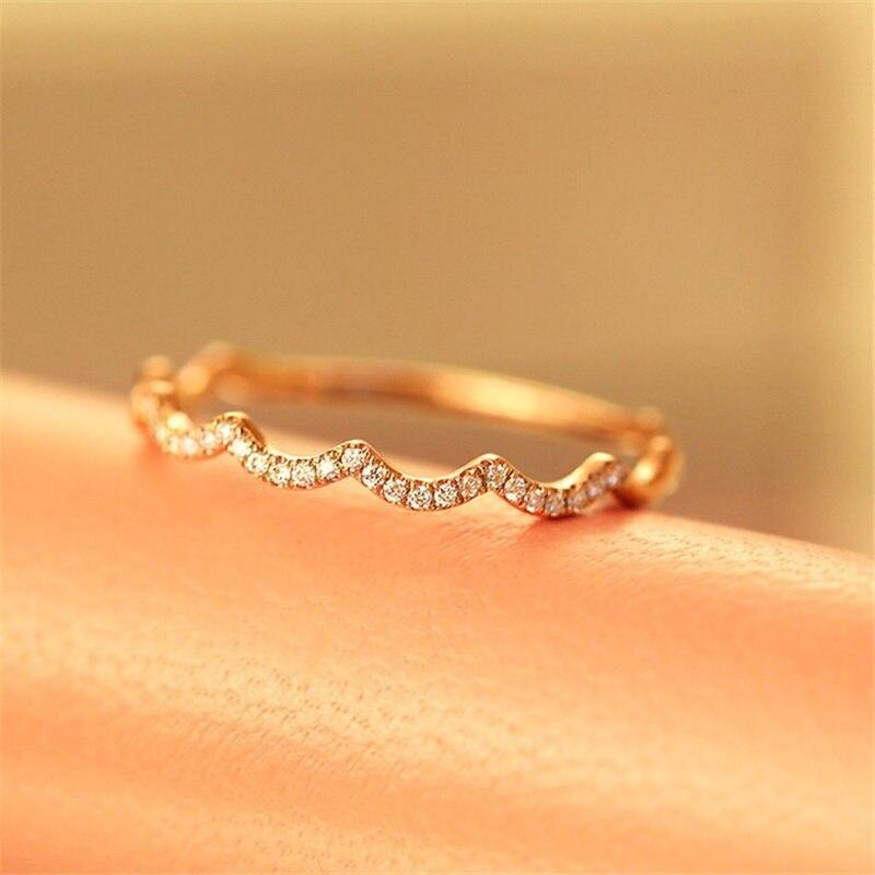 Aazuo 100% 18 K or Rose véritable diamant unique ligne ondulée forme anneau pour femme charme bijoux mode amour cadeau minuscule mince Au750 - 2
