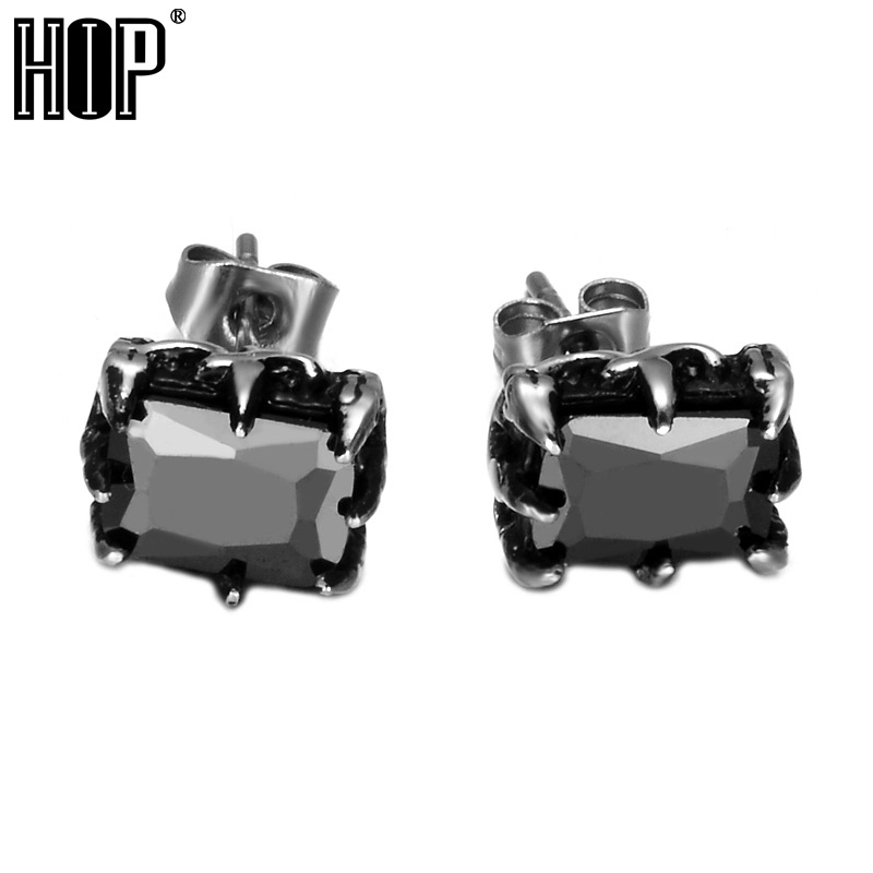 HIP Punk Black Cubic Zircon Mens Earring Titanium Stainless Steel Square Earrings For Men Jewelry