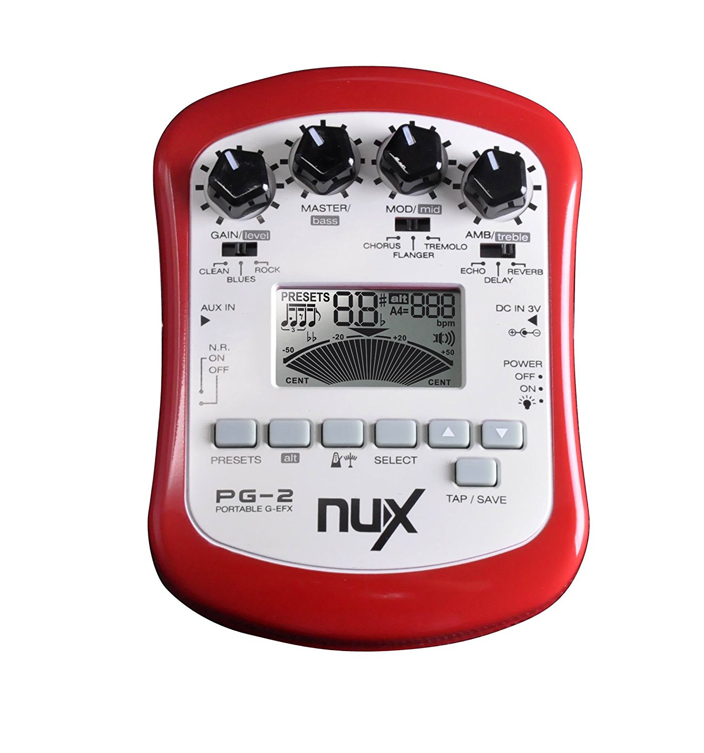 NUX PG-2 Portable Electric Guitar Multi-Effects Processor with Tuner Metronome Noise Gate nux mg 20 electric guitar multi effects pedal guitarra modeling processor with drum machine eu plug