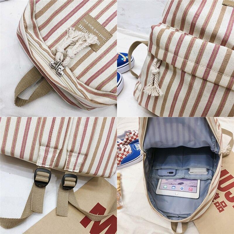 Image 5 - Female Canvas Plaid backpack Student women school bag girl Striped cute backpacks kawaii streak ladies harajuku bag book teenage-in Backpacks from Luggage & Bags