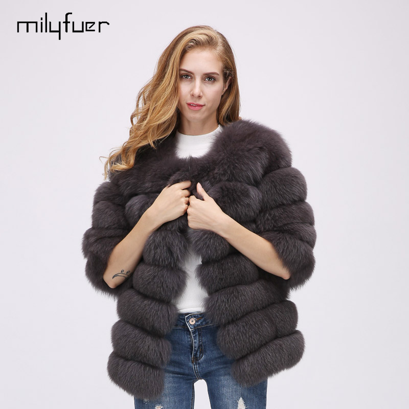 Milyfuer Fashion Fox Fur Vest Women Real Fox Fur Full Pelt Winter Autumn Solid Thick Warm Brown Grey Black Natural Fox Fur Vests