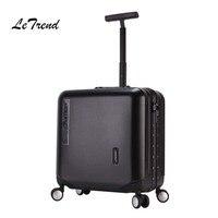 LeTrend алюминиевая рама розовое золото Rolling Чемодан Spinner сумка тележка 18 дюймов Для женщин Для мужчин кабина чемодана колеса, багажник