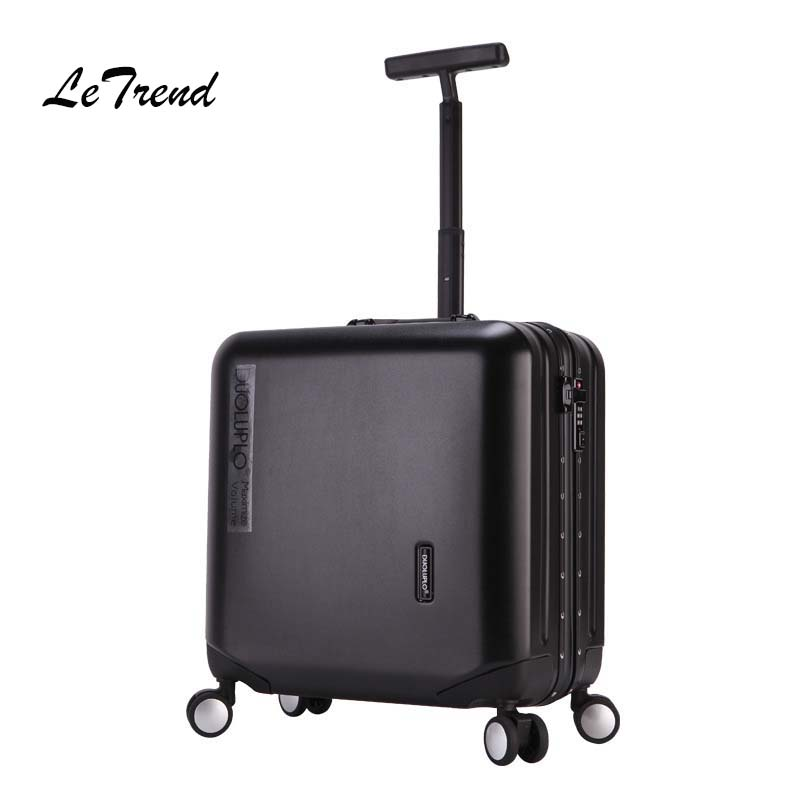 LeTrend Aluminium Frame Rose Gold Rolling Luggage Spinner Trolley Travel Bag 18 inch Women Men Cabin Suitcases Wheels Trunk