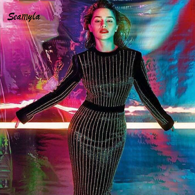 Seamyla 2019 Luxury Beaded Strips Long Dress Women Sexy Black Runway - Women's Clothing - Photo 2