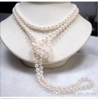 FFREE SHIPPING Long 65 7 8mm Genuine Natural White Akoya Cultured Pearl Necklace