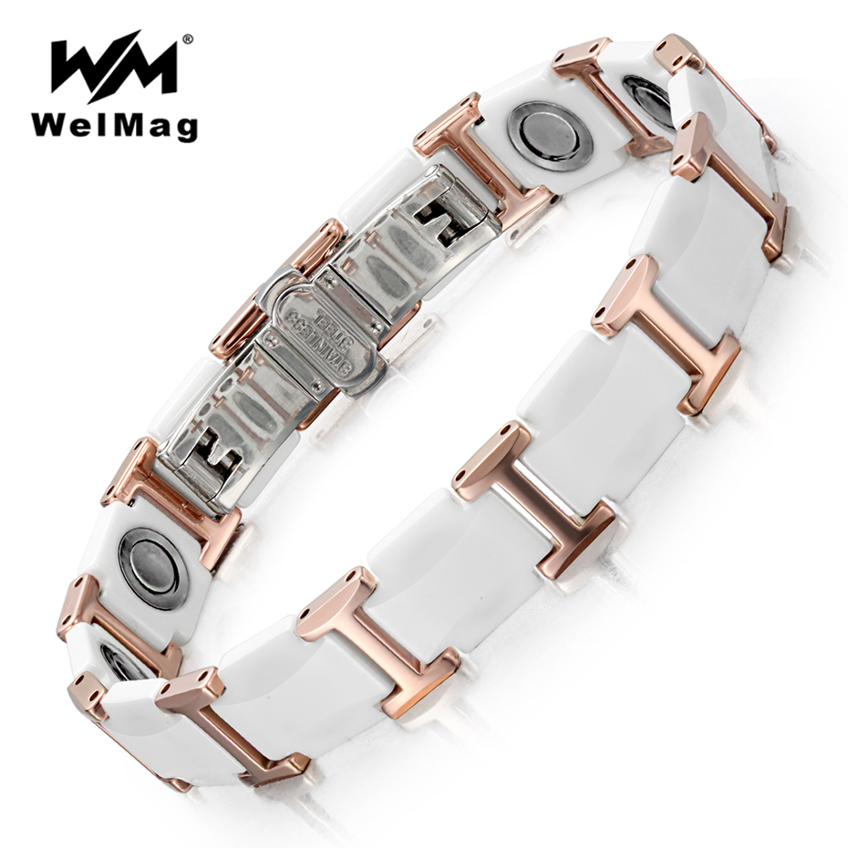 WelMag Magnetic Bracelets Bangles Fashion Noble White Ceramic Tungsten Steel Jewelry for Women Energy Magnetic Therapy