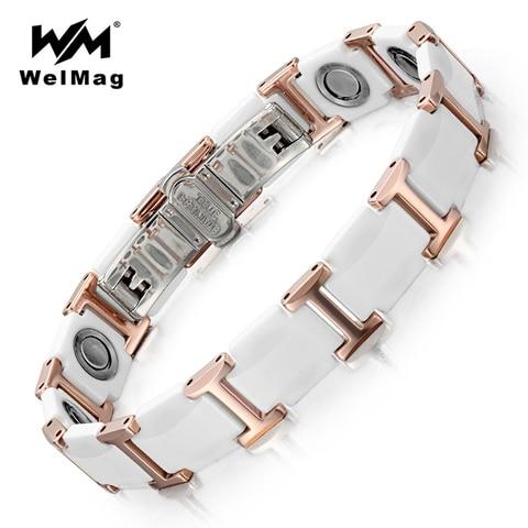 Магнитные браслеты welmag модные благородные белые керамические