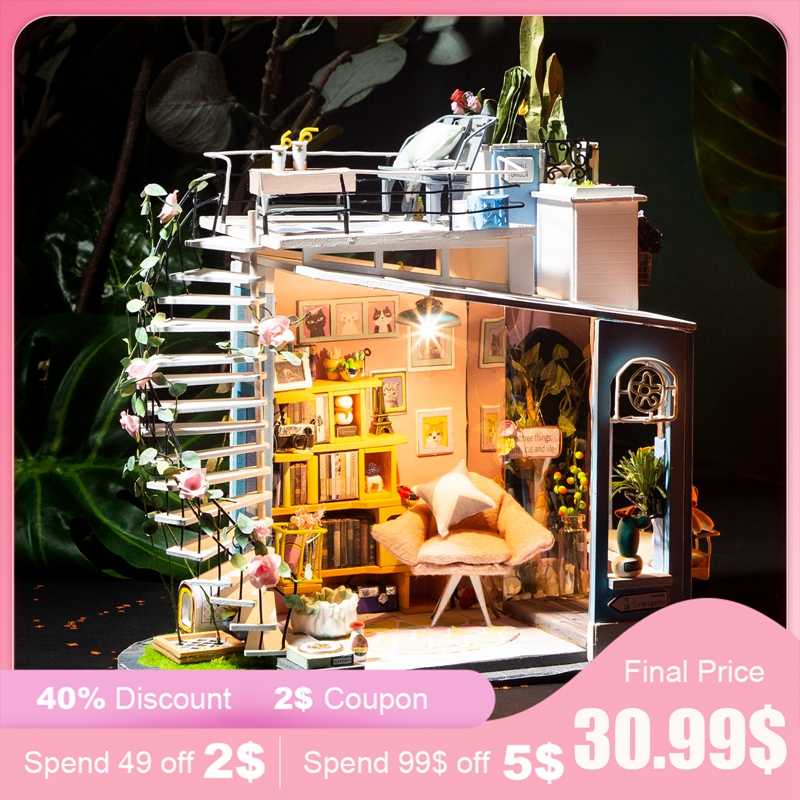 Robud DIY Wooden Miniature Doll House with Furniture Dollhouse Kits Doll House Accessories for Doll Toys