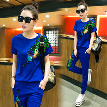 fashion 2017 spring summer new women suits female phoenix tail sequined sweater suit B0014