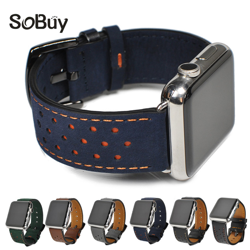 купить IDG Genuine leather strap for apple watch band 42 mm /38 bands Wave point bracelet leather band for iwatch series 1/2/3 Cowhide по цене 481.71 рублей