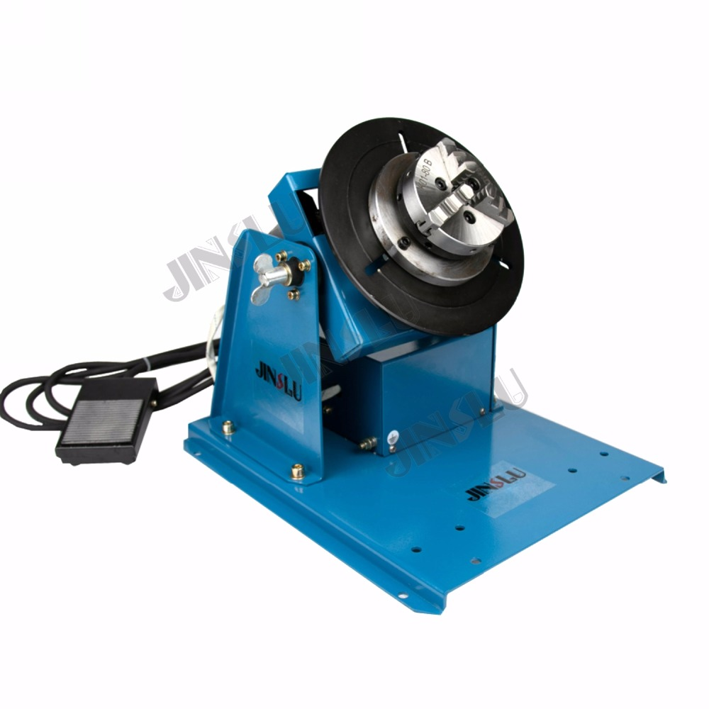 220V BY-10 10KG welding turntable rotator for pipe or circle workpiece welding positioner with K01-80B chuck light duty welding rotator 200kg bdaring support