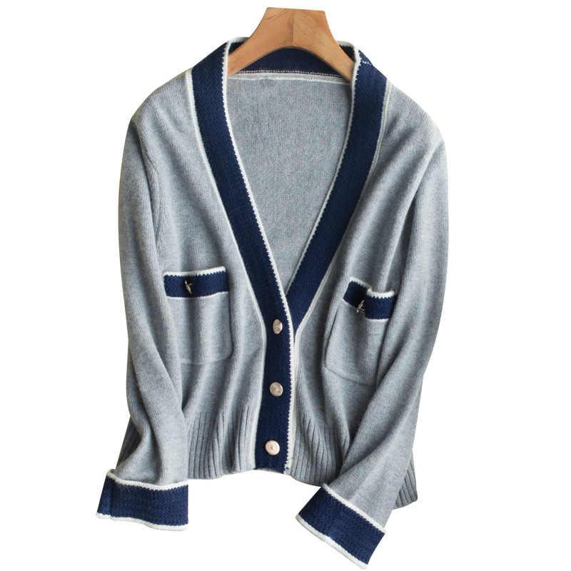 2017 Новый весенний и осенний кашемировый свитер с v-образным вырезом вязаный кардиган дикий женский свитер, кардиган пальто тонкий кардиган