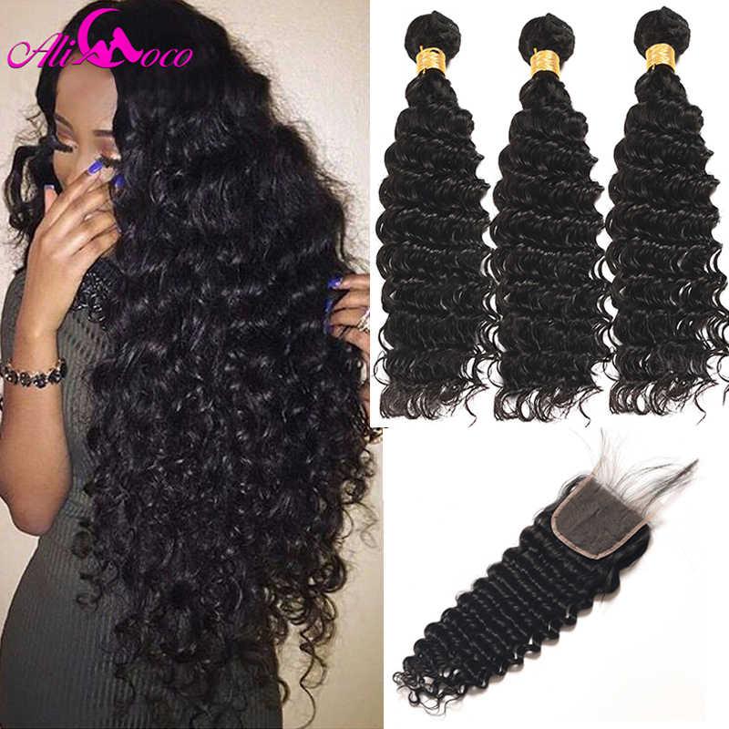 Али Коко бразильский глубокая волна 3 пучка с закрытием 100% человеческие волосы пучки с закрытием младенца 4*4 не remy волосы для наращивания