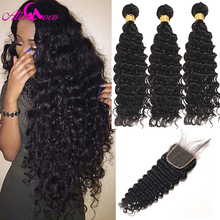 купить Ali Coco Brazilian Deep Wave 3 Bundles With Closure 100% Human Hair Bundles With Baby Closure 4*4 Non Remy Hair Extensions дешево