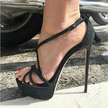Sexy Black Crystal Embellished High Heel Sandals Stiletto High Heels Cross Strap Summer Dress Shoes 2019 Ladies Gladiator Sandal