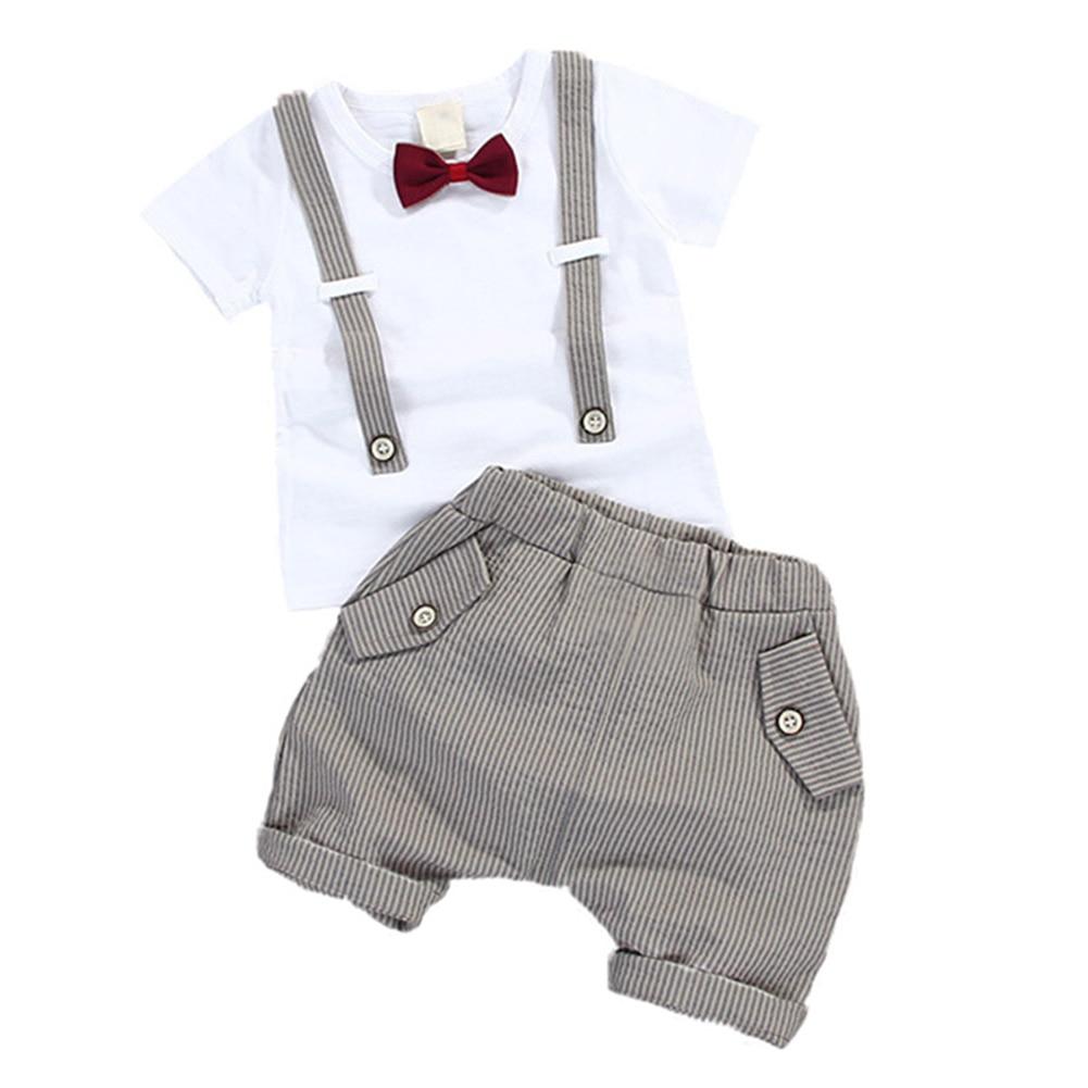 Outfit Shorts Gentleman-Set Two-Piece-Set Baby-Boy Striped Summer M09 Straps Bowtie
