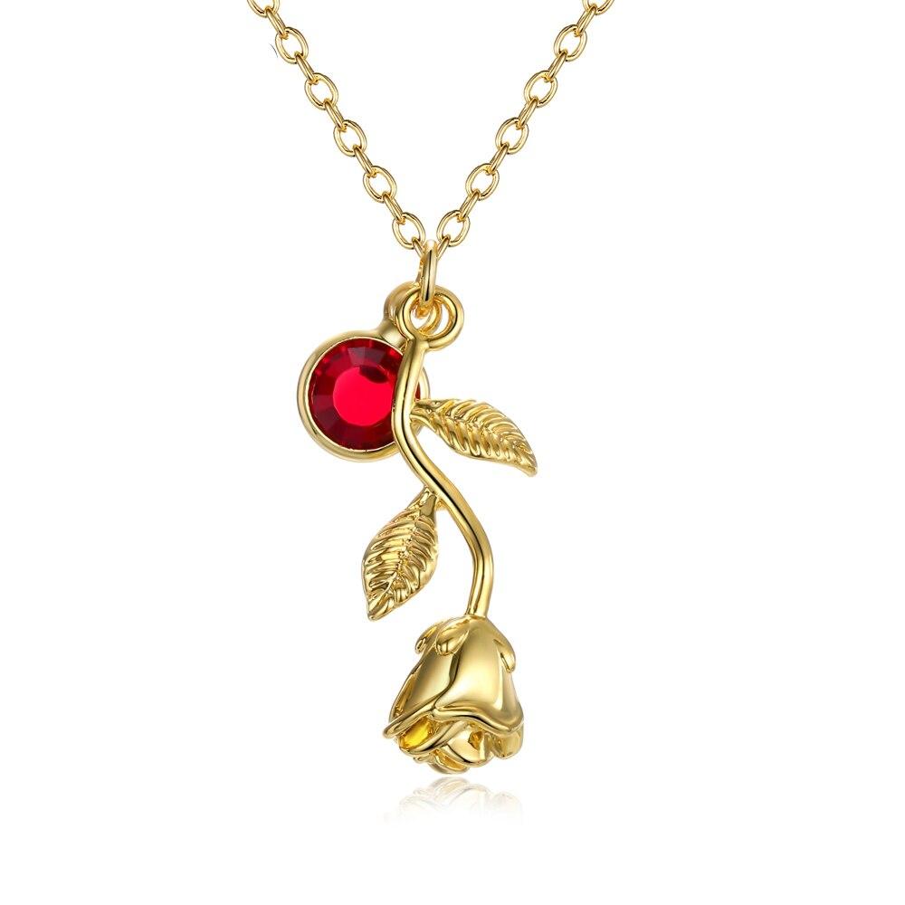 3D Rosa collar de color oro personalizada Birthstone encanto collar Rosa Final de belleza y la Bestia la joyería de las mujeres