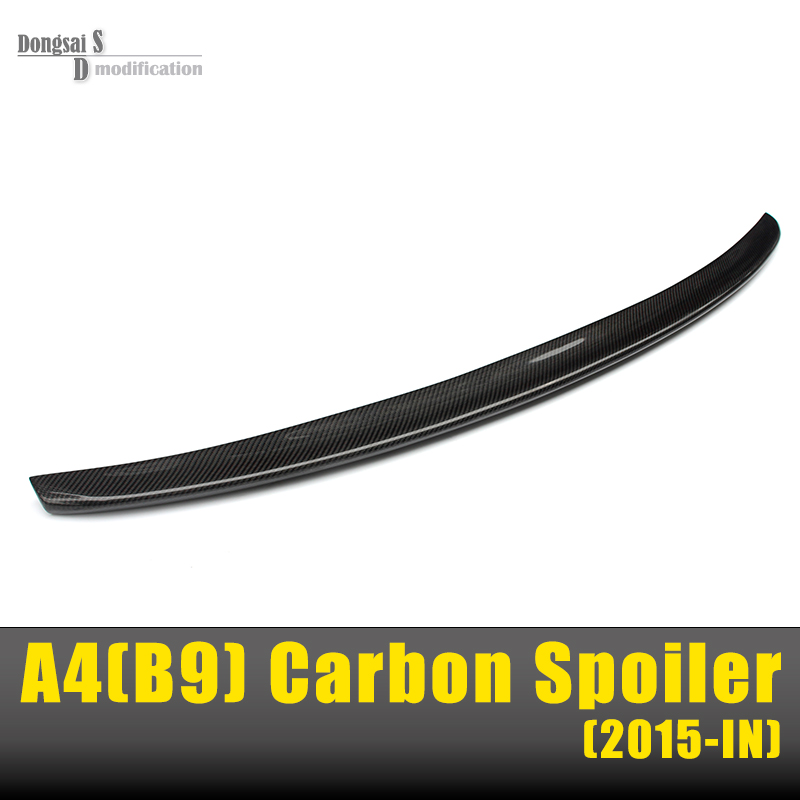 A4 B9 S4 Style Spoiler Carbon Fiber Spoiler Wing For Audi A4 B9 2016+ Fits 4 Doors Sedan Only Rear Trunk Back Part free shipping 2 pcs lot rear trunk gas lift supports sturts car gas springs shocks for vw sedan only volkswagen passat audi a4