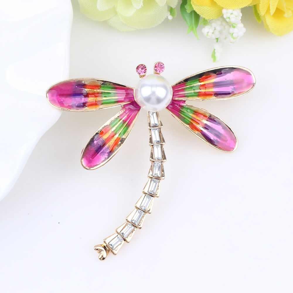 Bonsny Paduan Bunga Dragonfly Bros Mutiara Berlian Imitasi Pin untuk Wanita Pakaian Wanita Syal Dekorasi Baru Perhiasan Dekorasi