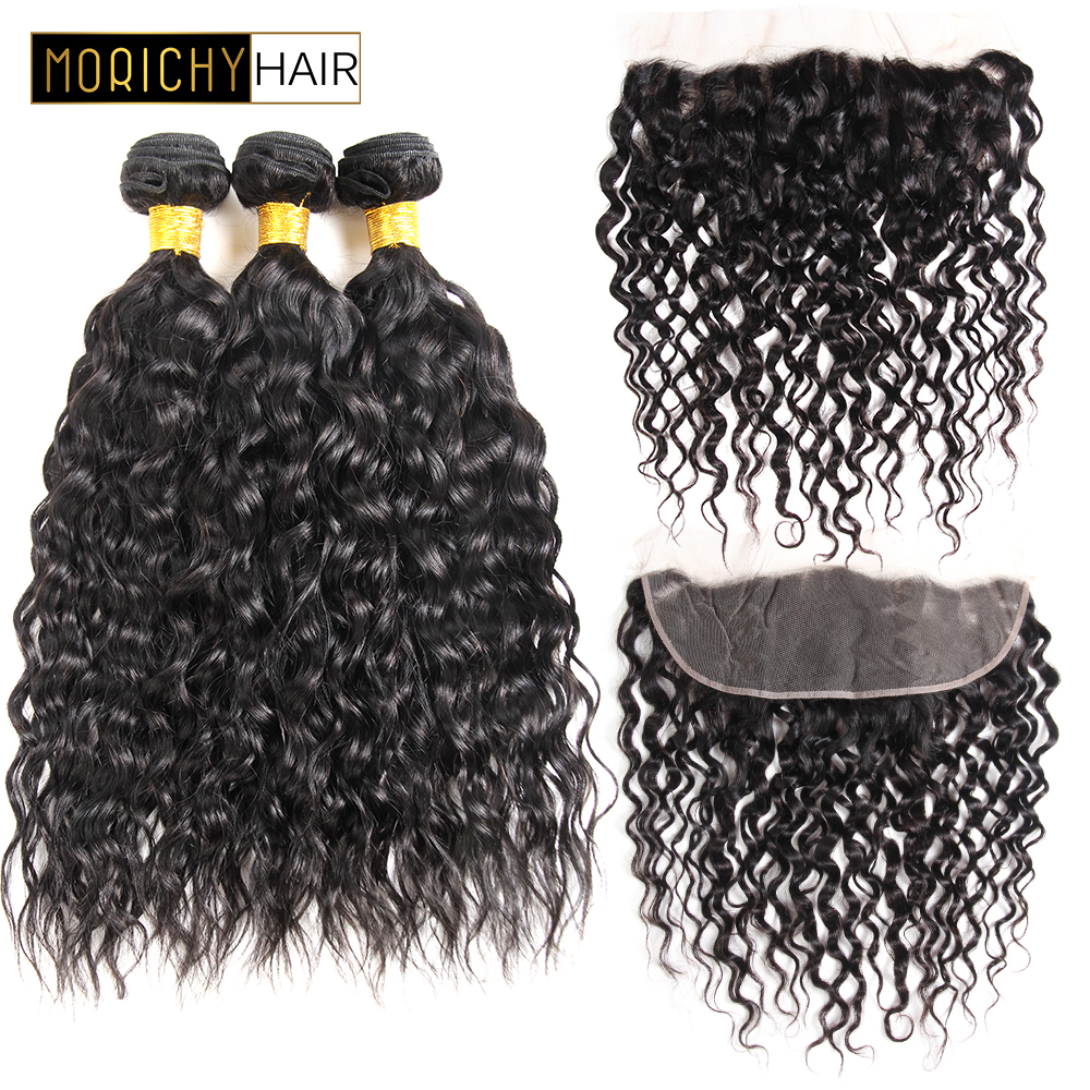 MORICHY Brazilian Water Wave Bundles with Closure Frontal Wet and Wavy Human Hair 3 bundles with Frontal Remy Water Wave Hair