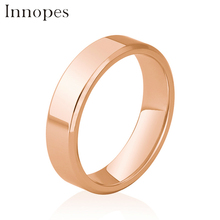 Innopes Glamour Titanium Simple black goldRing Anti-allergy Smooth Wedding Couples Rings Bijouterie for Man or Woman Gift цена 2017