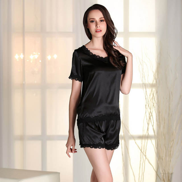 dc935ea34 Women Satin Sleepwear Set Nightgown Nightdress Pajamas set Nightsuit Lace  Silk short sleeve tops and shorts