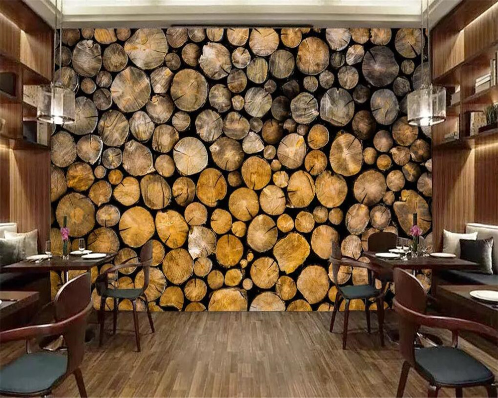 Beibehang Custom tapete retro log restaurant cafe tapete hintergrund wand wohnzimmer schlafzimmer wohnkultur 3d tapete wandbild