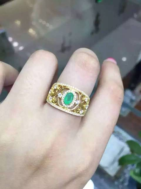 Natural green emerald gem Кольцо Натуральный камень кольцо стерлингового серебра 925 модный роскошный Листья полые женщины партия Ювелирных Изделий