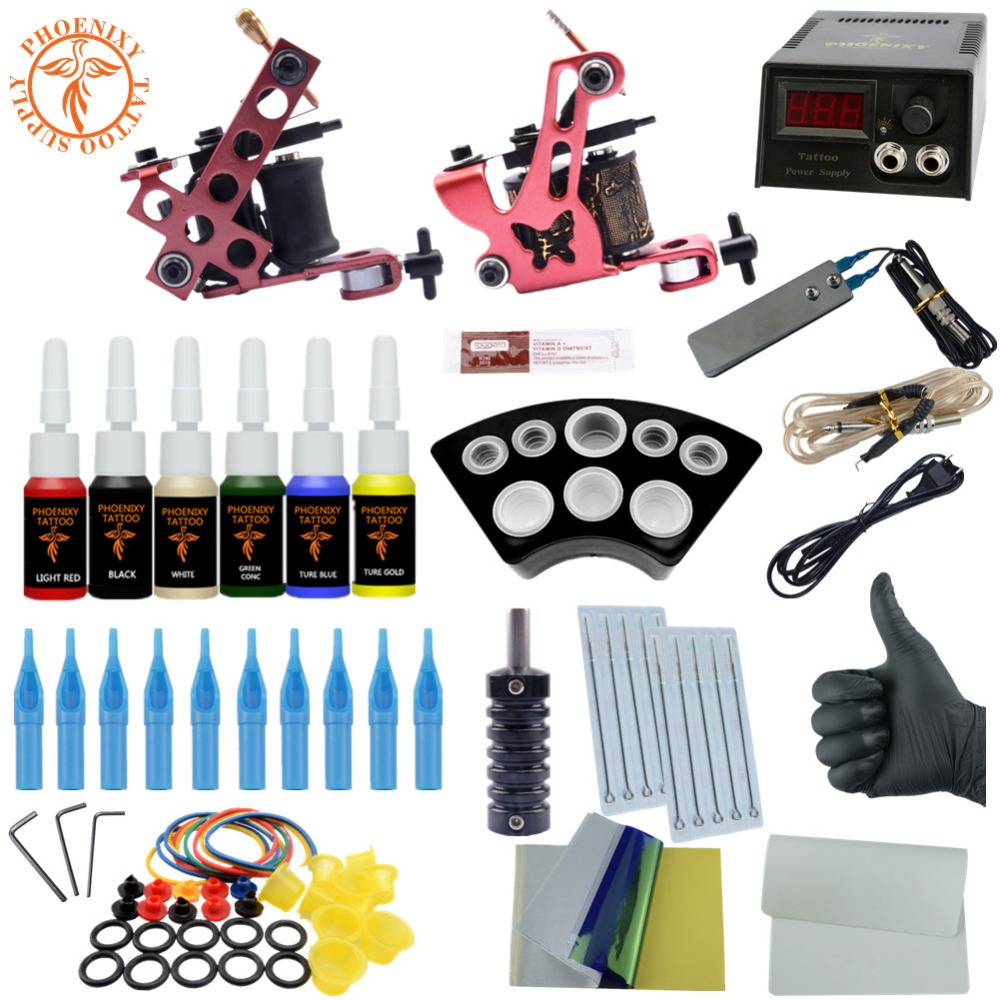 Completed Tattoo Kit 20 Color Tattoo Ink Set 2 Machines Set Black Power Supply Needles Permanent Make Up Professional Tattoo Kit tattoo kit completed permanent makeup 2 machines set professional tattoo machine set 10 colors tattoo ink sets permanent make up