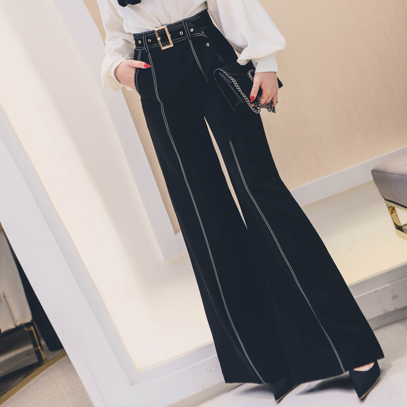 Womens Fashion High Waist  Flared Bell Bottom Pants Ladies Work Wear Casual Pants Black Long Trousers loose high waist trousers