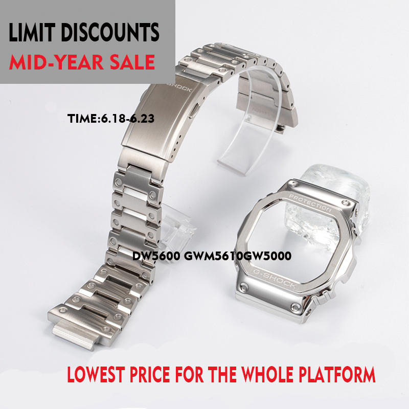 316L Stainless Steel Watchband And Case For Casio DW5600 GWM-B5000 GW-M5610 Metal Strap Steel Belt Tools For Men/Women Gift