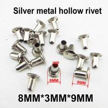 100 шт 8 мм* 3 мм* 9 мм серебристая металлическая полая заклепка кнопки-люверсы швейная одежда аксессуар канюлированный винт кнопки HR-001