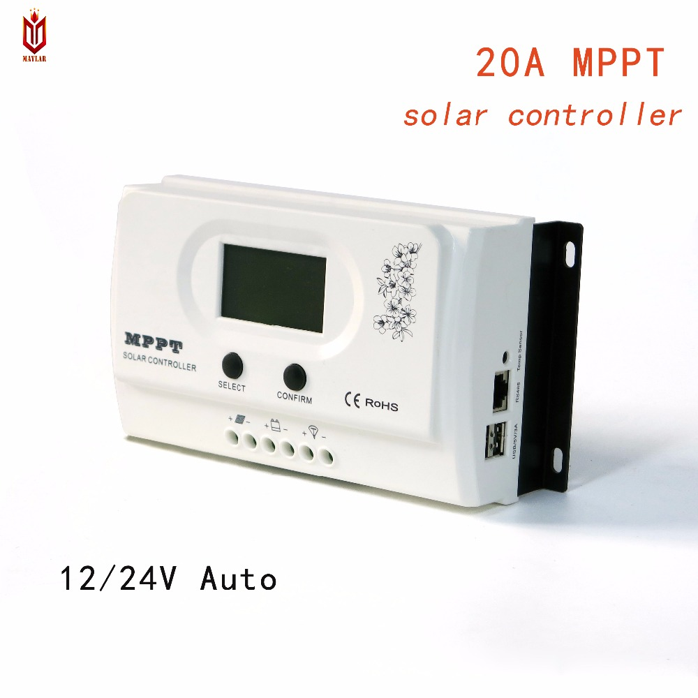 MAYLAR MPPT 20A Solar Charge Controller Charging 12V 24V Auto for Max.100VDC Input off Grid PV Power System with USB 5V3A RS485 MAYLAR MPPT 20A Solar Charge Controller Charging 12V 24V Auto for Max.100VDC Input off Grid PV Power System with USB 5V3A RS485