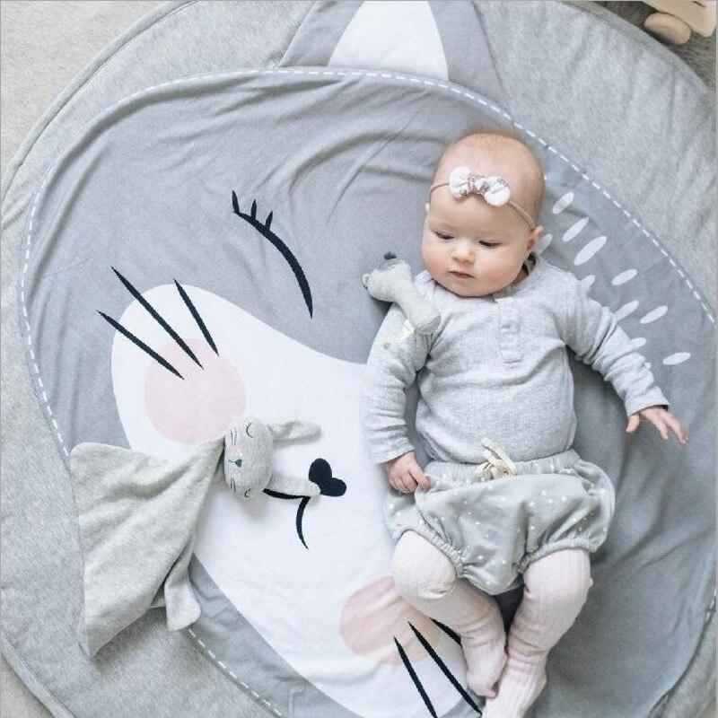 90CM Kids Play Game Mats Cotton Animals Round Carpet Rugs Newborn Bedding Floor Crawling Rug Blanket Baby Room Decor Pad