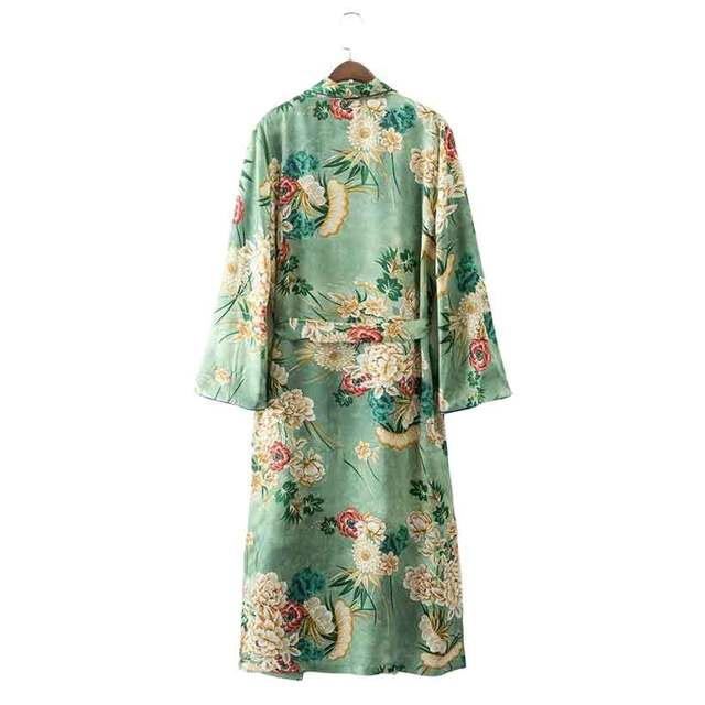 Japanese Kimono Cardigan Women 2017 Fashion Street Wear Green Floral Print Costumes Kimono Jacket Beach Casual Long Blouse Shirt 5