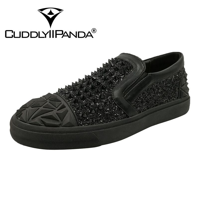 CUDDLYIIPANDA Luxury Brand Bling Spikes Men Shoes Shinny Glitter Rivets Sneakers Male Casual Shoes 2018 Fashion Men Loafers newest men luxury shinny glitter gold and silver spikes shoes slip on loafers rivets men casual shoes 2017 leather shoe berdecia