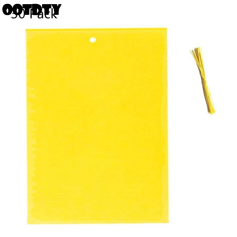 30 Pack Dual-Sided Yellow Sticky Traps For Flying Plant Insect (10x4 Inch, Included 30pcs Twist Ties)