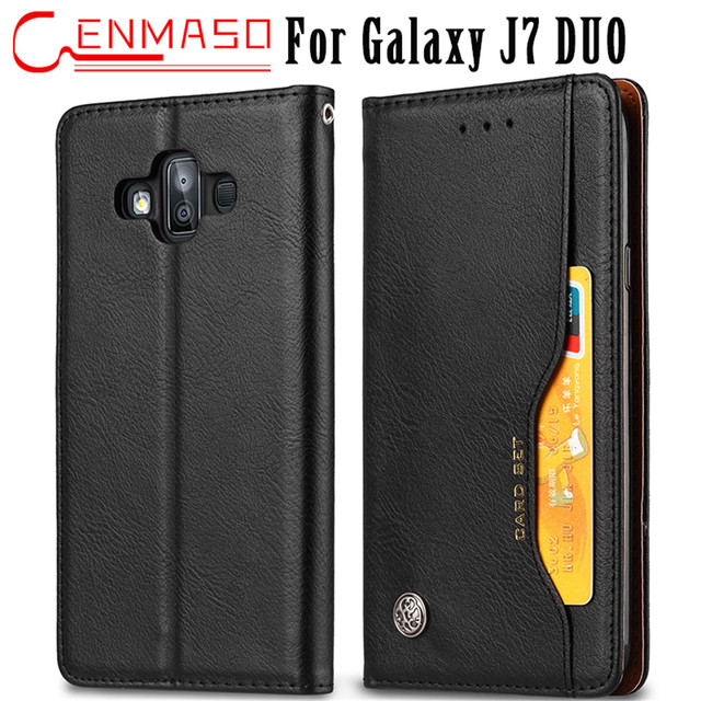 buy online 17923 144f7 US $11.99 |For Samsung Galaxy J7 DUO 2018 case Magnetic wallet case J7DUO  flip leather cover For Samsung J7 DUO flip kick stand phone case-in Wallet  ...