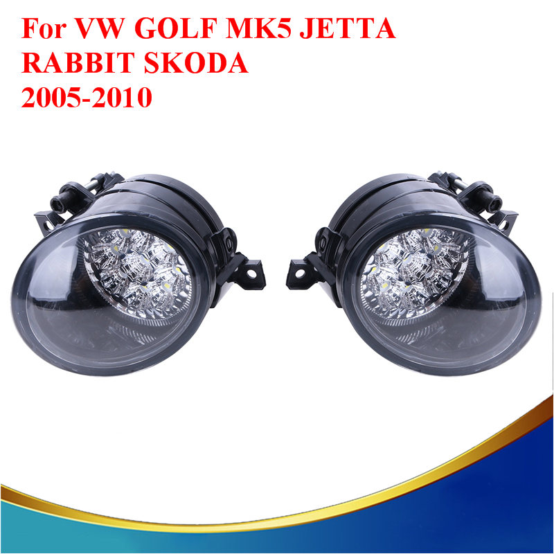 2x 6000K LED Fog Lights Bright White Lamps For VW GOLF GTI TDI GLS MK5 JETTA SKODA 2005 2006 2007 2008 2009 Car-styling #9263 free shipping for vw golf 5 golf mk5 2004 2005 2006 2007 2008 2009 new front left halogen fog light fog lamp with convex lense
