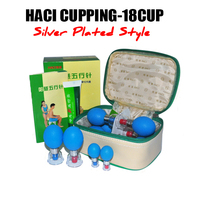New Type HACI Magnetic Acupressure Suction Cupping Set 18 Cups Chinese Vacuum Cupping set Massage Therapy SILVER Plated 18