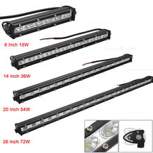 8 14 20 26 Inch LED Strip Light Bar Single Row Off Road Lights 18w 36w 54w Work for Jeeps/SUV/Motorcycles